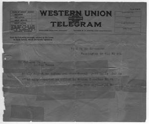 Primary view of object titled '[Western Union Telegram to Soloman Falls]'.