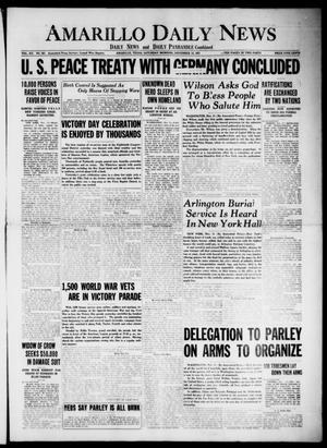 Primary view of Amarillo Daily News (Amarillo, Tex.), Vol. 12, No. 267, Ed. 1 Saturday, November 12, 1921