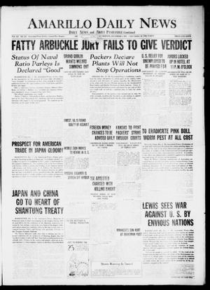 Primary view of object titled 'Amarillo Daily News (Amarillo, Tex.), Vol. 12, No. 285, Ed. 1 Saturday, December 3, 1921'.