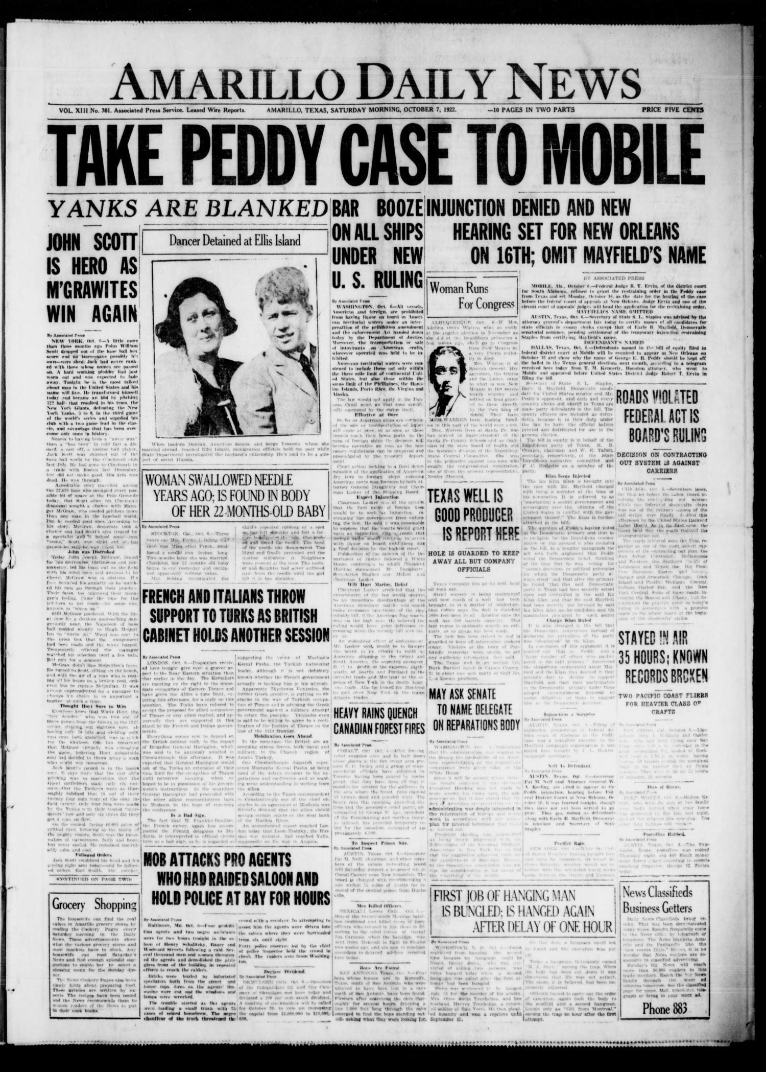 Amarillo Daily News (Amarillo, Tex ), Vol  13, No  301, Ed
