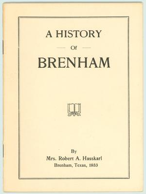 Primary view of object titled 'A History of Brenham'.