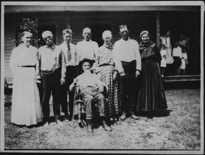 Primary view of object titled '[Falls Reunion Portrait, Family by House]'.