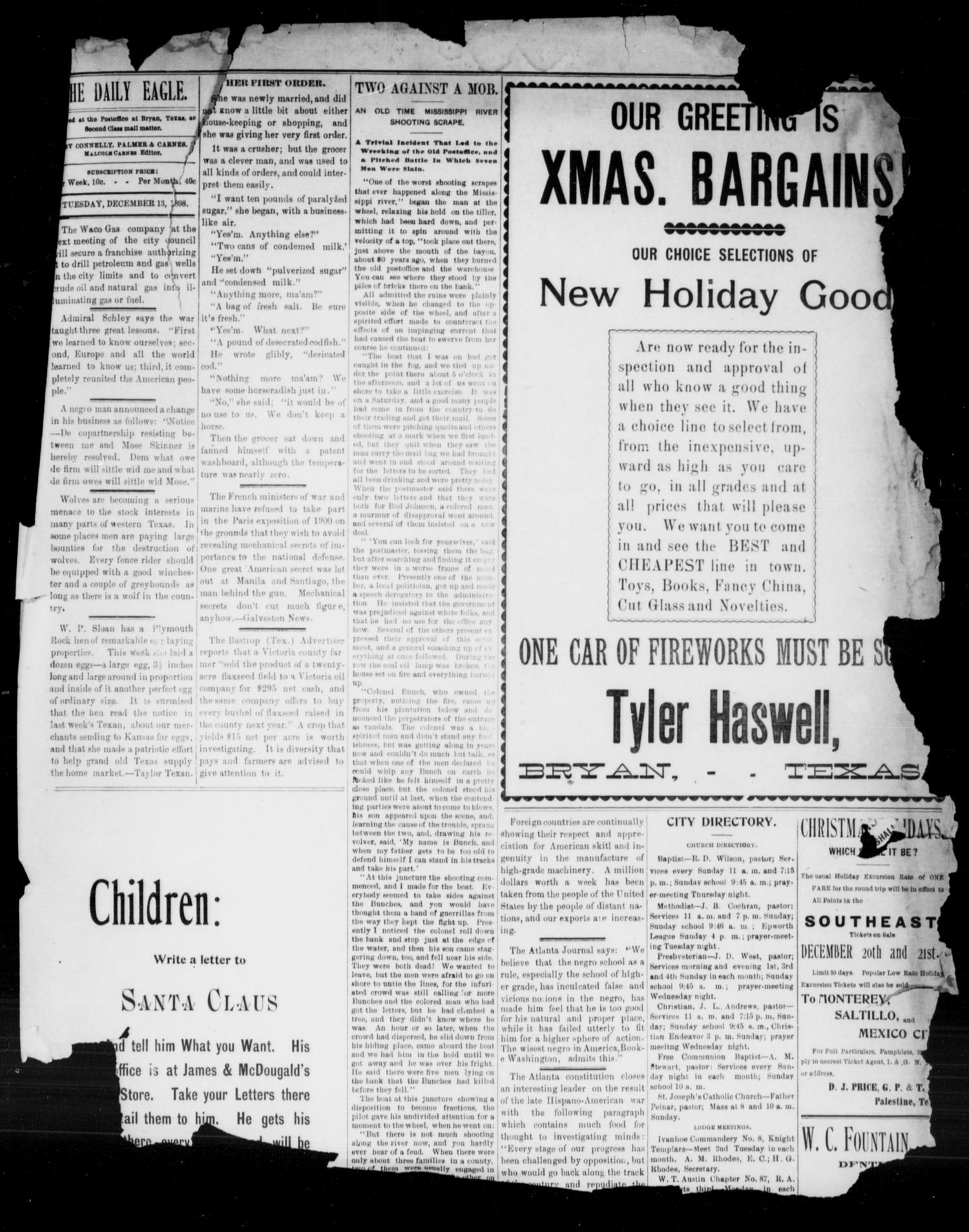 Bryan Morning Eagle. (Bryan, Tex.), Ed. 1 Tuesday, December 13, 1898                                                                                                      [Sequence #]: 3 of 5