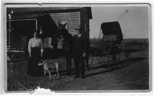 Primary view of object titled '[Sallie and Joe Griffin on a Ranch]'.