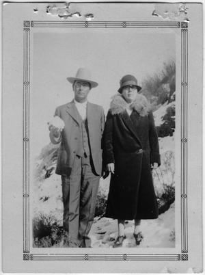 Primary view of object titled '[Sallie and Joe Griffin in the Snow]'.