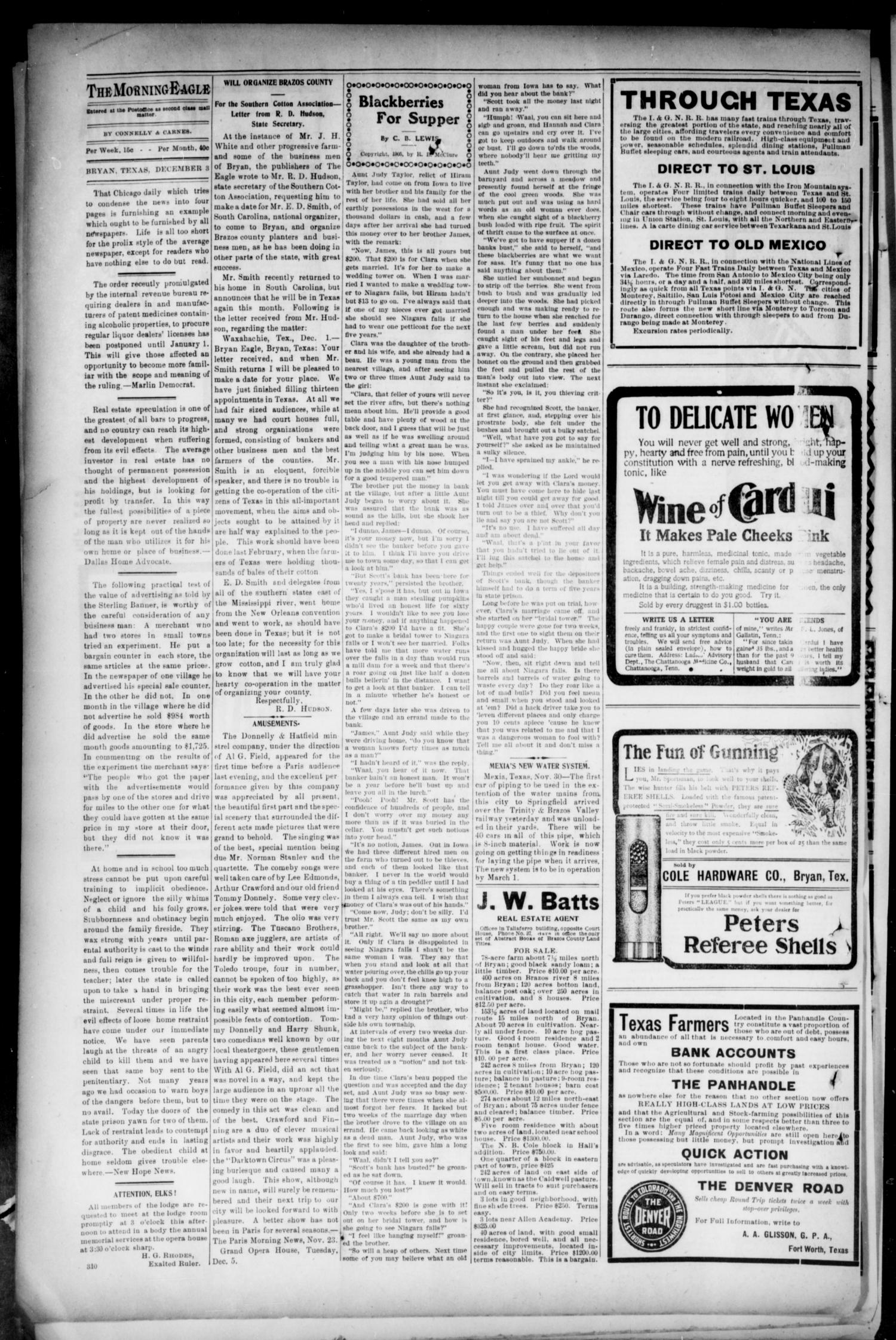 Bryan Morning Eagle. (Bryan, Tex.), Vol. TENTH YEAR, No. 310, Ed. 1 Sunday, December 3, 1905                                                                                                      [Sequence #]: 4 of 8
