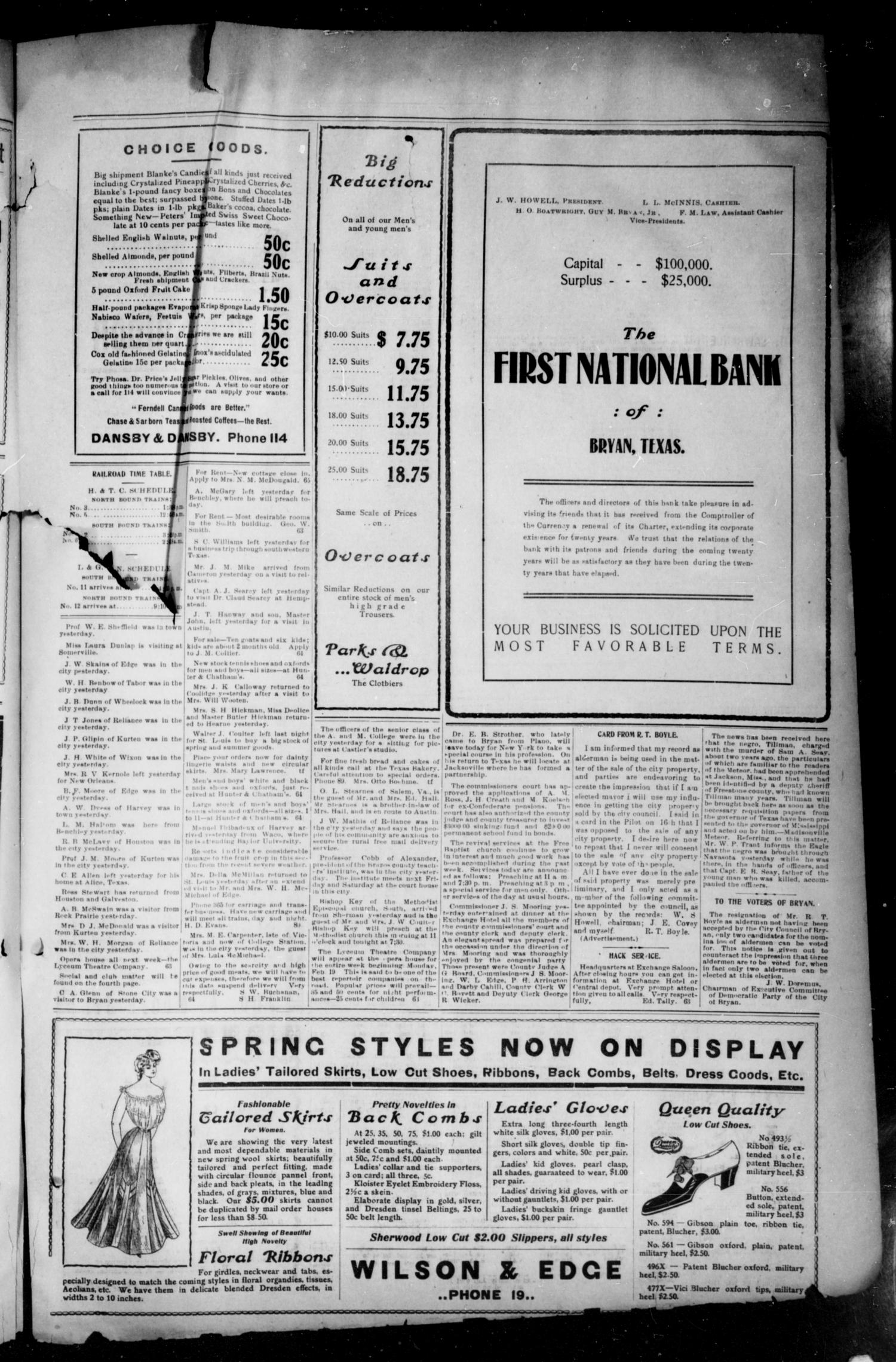 Bryan Morning Eagle. (Bryan, Tex.), Vol. ELEVENTH YEAR, No. 63, Ed. 1 Sunday, February 18, 1906                                                                                                      [Sequence #]: 3 of 4