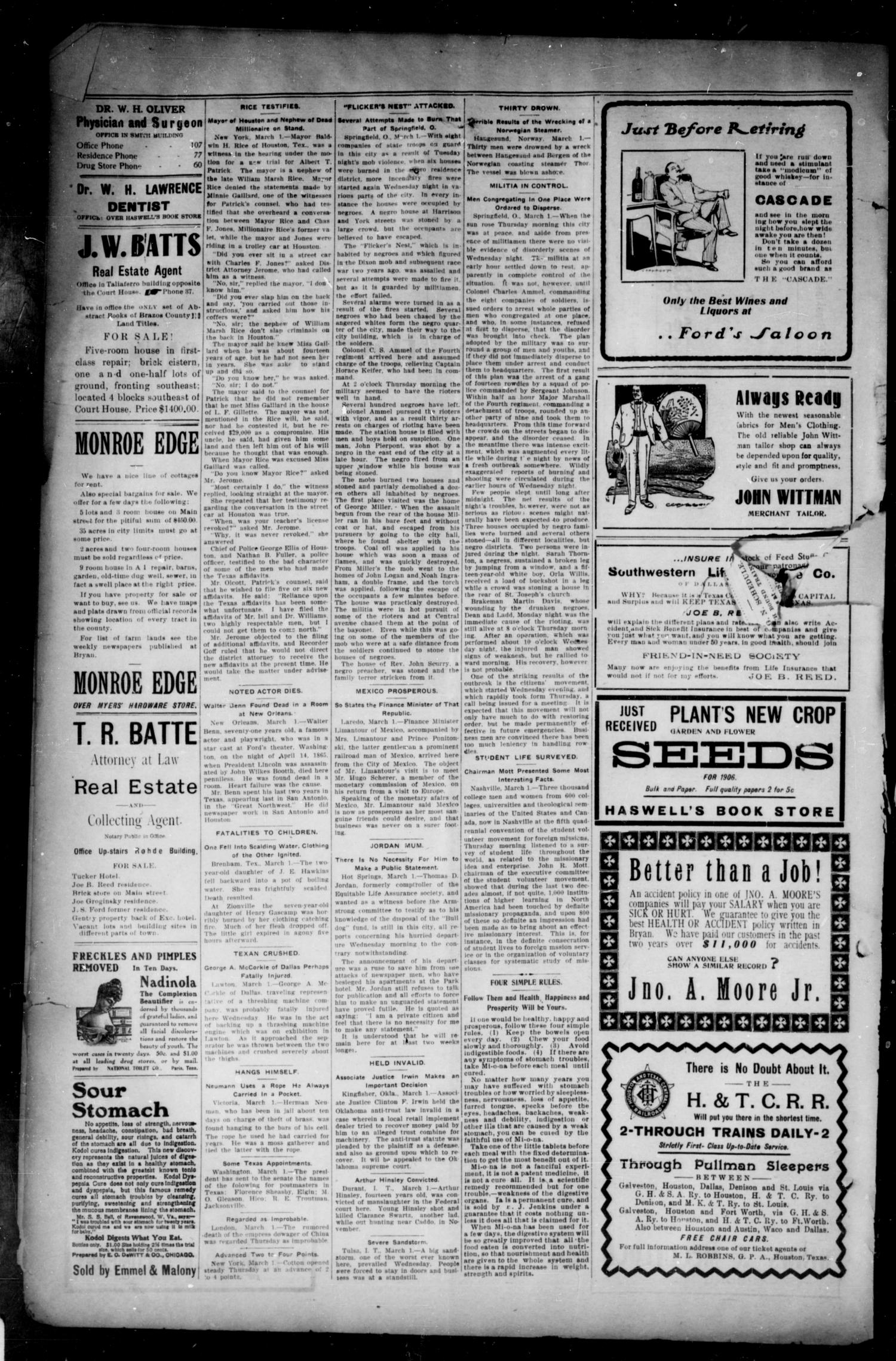 Bryan Morning Eagle. (Bryan, Tex.), Vol. ELEVENTH YEAR, No. 73, Ed. 1 Friday, March 2, 1906                                                                                                      [Sequence #]: 4 of 4