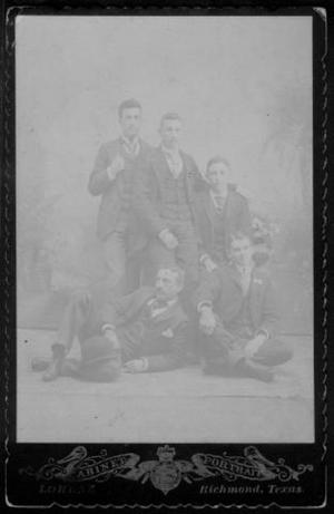 Primary view of object titled '[Five young men wearing three-piece suits.]'.