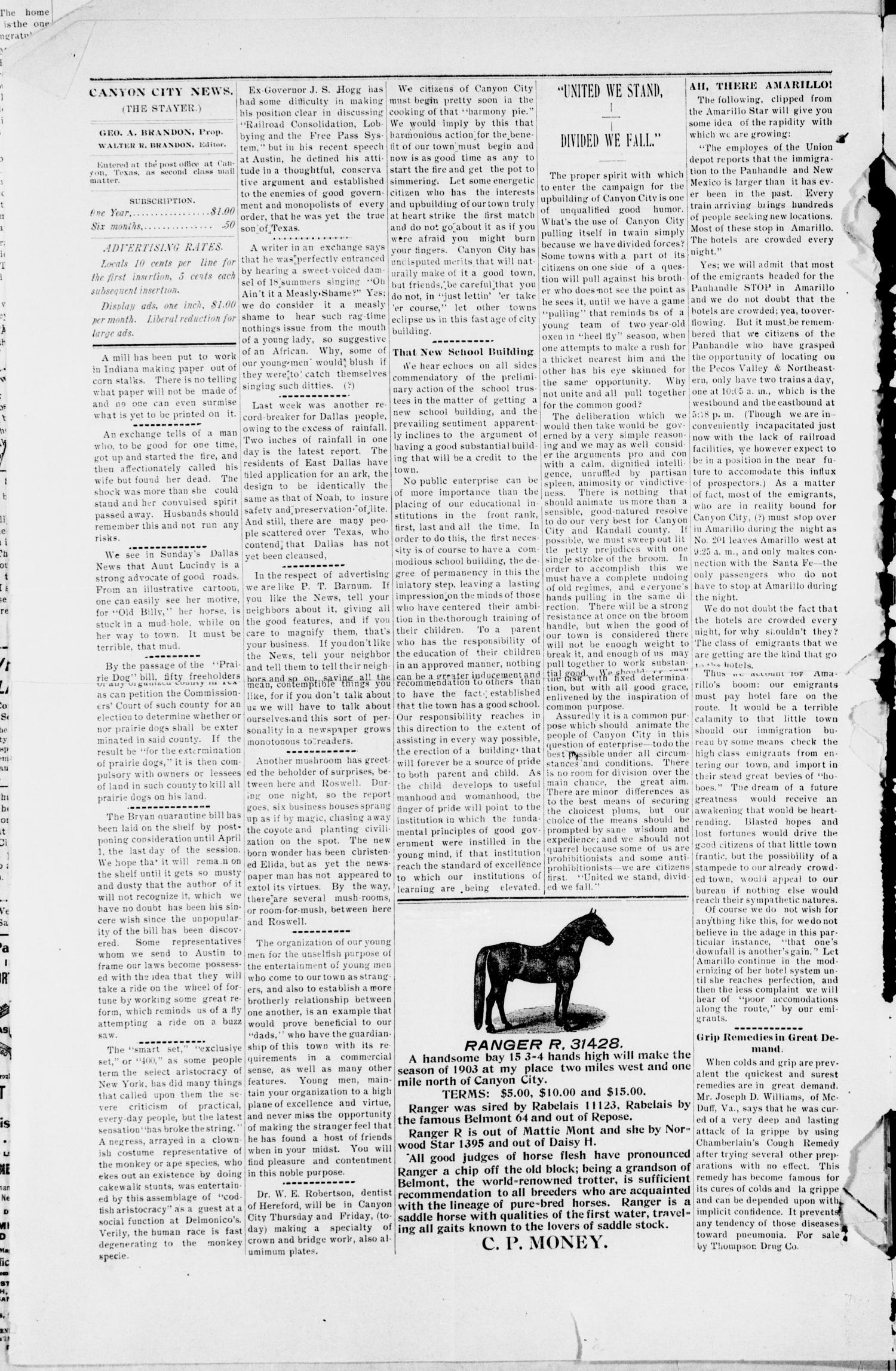 Canyon City News. (Canyon City, Tex.), Vol. 7, No. 2, Ed. 1 Friday, March 27, 1903                                                                                                      [Sequence #]: 2 of 4