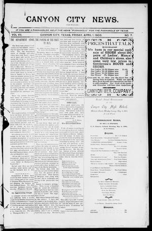 Primary view of object titled 'Canyon City News. (Canyon City, Tex.), Vol. 7, No. 7, Ed. 1 Friday, May 1, 1903'.