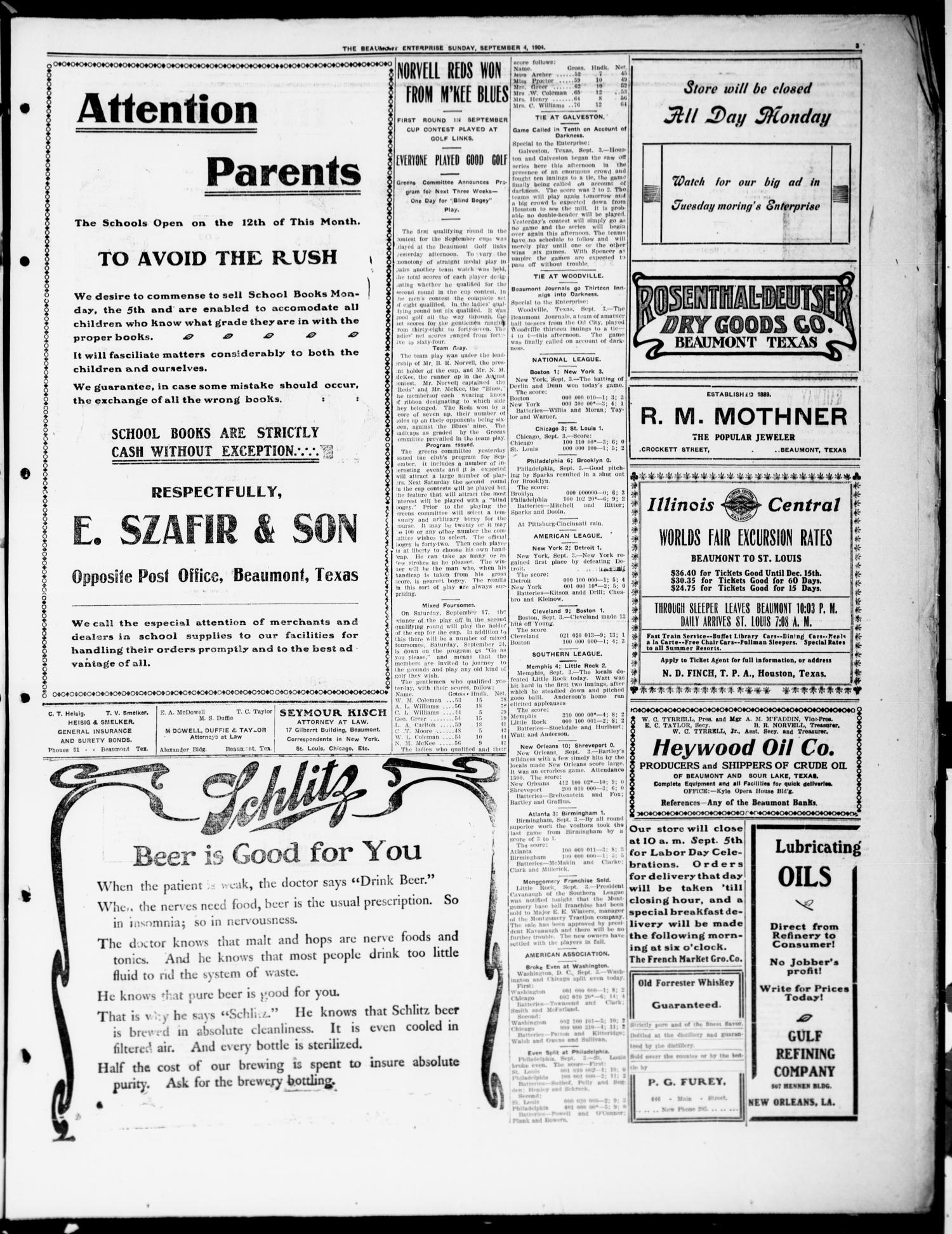 The Beaumont Enterprise (Beaumont, Tex.), Vol. 8, No. 136, Ed. 1 Sunday, September 4, 1904                                                                                                      [Sequence #]: 3 of 8