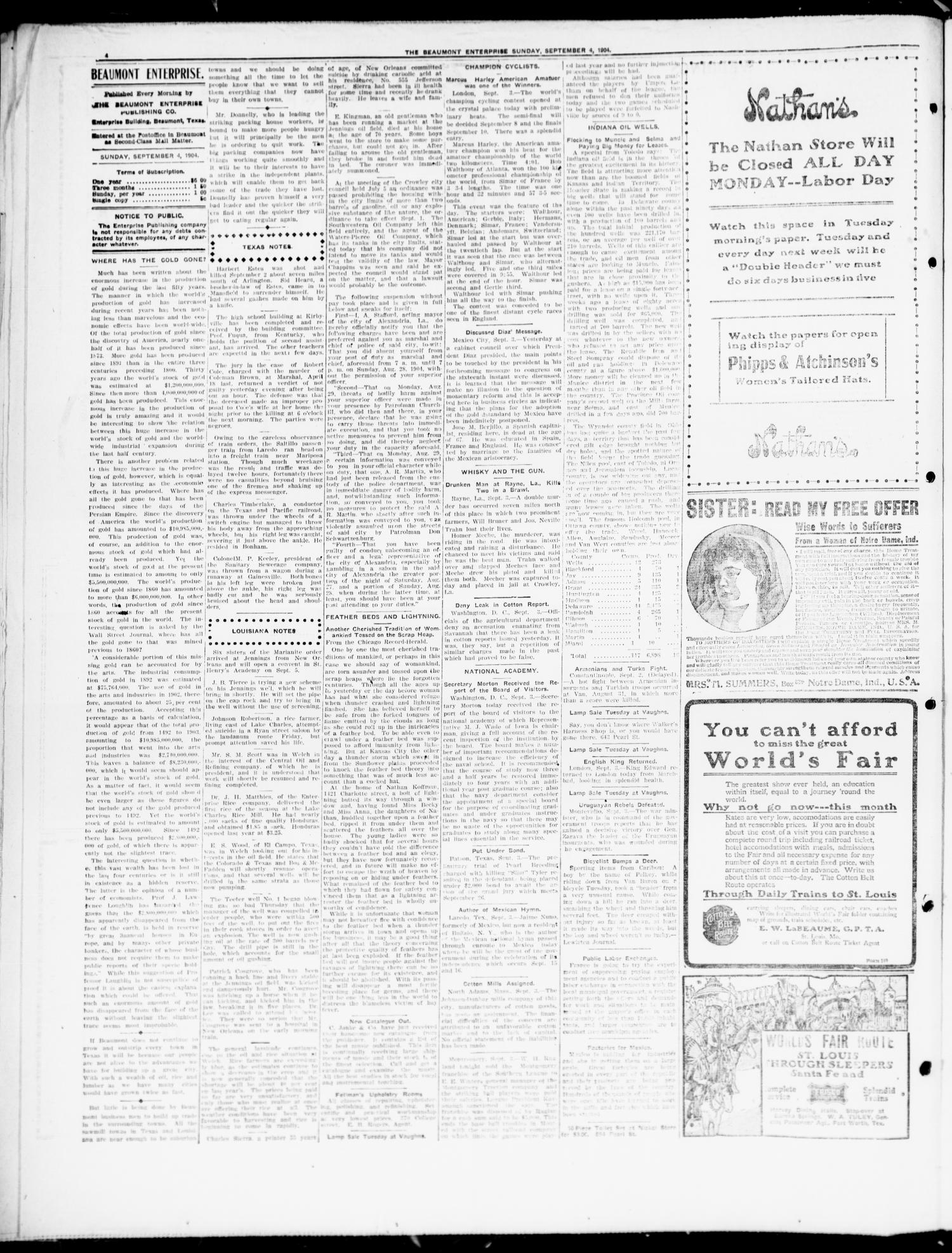 The Beaumont Enterprise (Beaumont, Tex.), Vol. 8, No. 136, Ed. 1 Sunday, September 4, 1904                                                                                                      [Sequence #]: 4 of 8