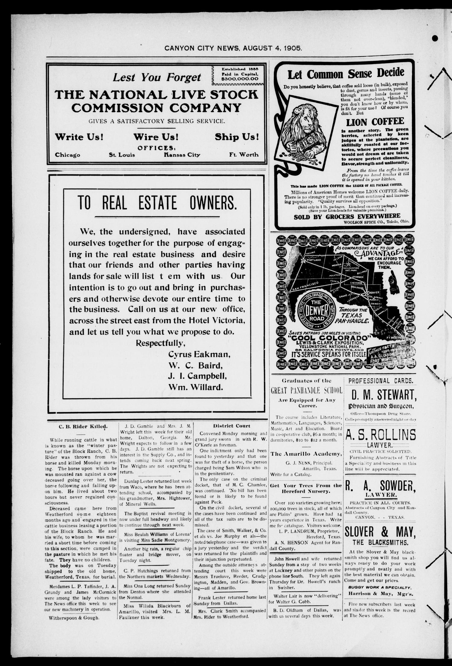 Canyon City News. (Canyon City, Tex.), Vol. 9, No. 21, Ed. 1 Friday, August 4, 1905                                                                                                      [Sequence #]: 4 of 4
