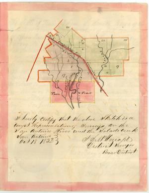 Primary view of object titled 'Court record, map of San Antonio River area'.