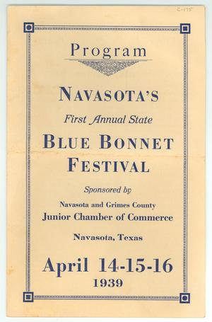"Primary view of object titled '""Navasota's First Annual State Bluebonnet Festival""'."