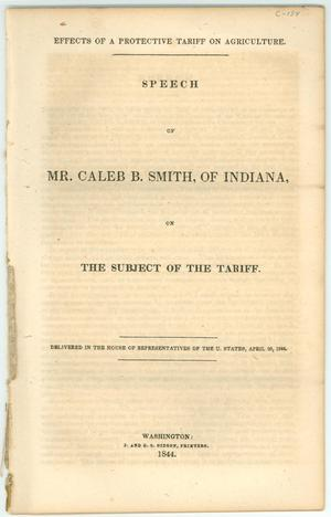 "Primary view of object titled '""Speech of Mr. Caleb B. Smith, of Indiana, on the Subject of the Tariff.""'."