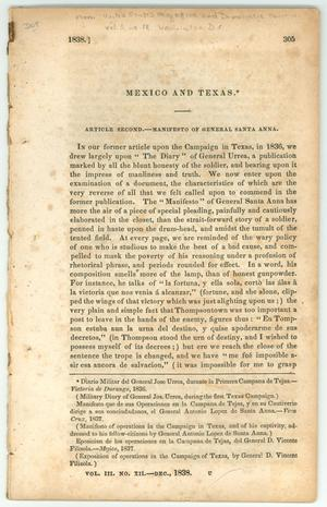 "Primary view of object titled '""Mexico and Texas.  Article Second.  Manifesto of General Santa Anna.""'."