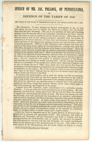 "Primary view of object titled '""Speech of Mr. Jas. Pollock of Pennsylvania, in Defence of the Tariff of 1842""'."