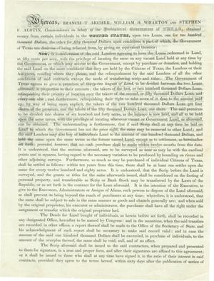 Primary view of object titled '[Repayment of Loan to the Provisional Government of Texas with Land]'.