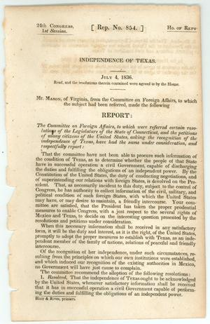 "Primary view of object titled '""Independence of Texas""'."