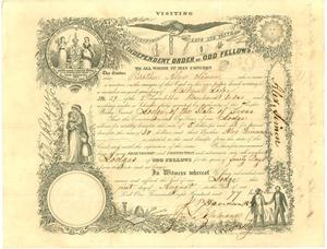 Primary view of object titled '[Membership certificate from Cartmell Lodge of the Odd Fellows in Brenham]'.