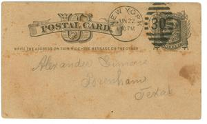 [Postcard to Simon from S.A. Ash, 1876]