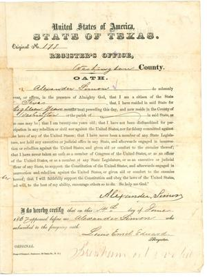 Primary view of object titled '[Certificate of  Registration registering Alexander Simon as a qualified voter, 1867]'.