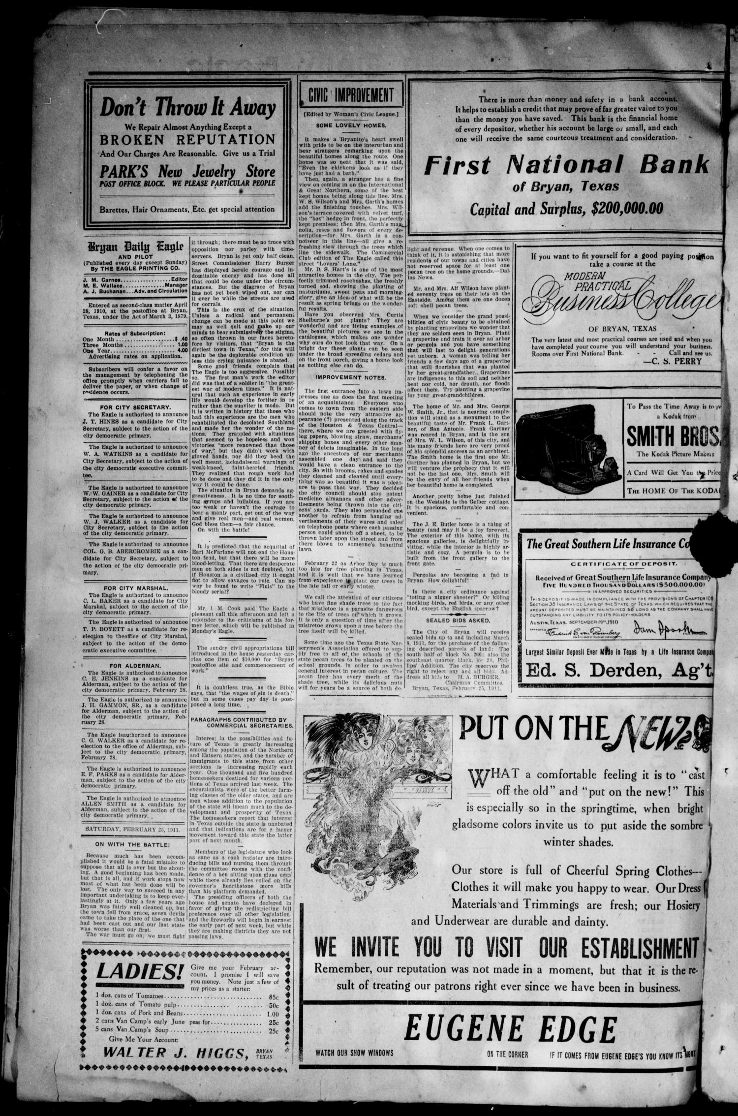 The Bryan Daily Eagle and Pilot (Bryan, Tex.), Vol. SIXTEENTH YEAR, No. 69, Ed. 1 Saturday, February 25, 1911                                                                                                      [Sequence #]: 2 of 4