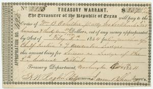Primary view of object titled 'Treasury warrant'.