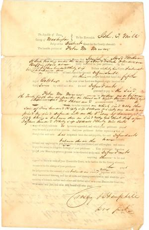 Primary view of object titled '[Debt Petition by Peter Mercer, October 5, 1837]'.