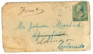 Primary view of object titled '[Envelope addressed to Johnson Moorhead]'.