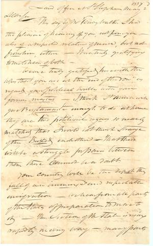Primary view of object titled '[Letter from James Magoffin, May 2, 1837]'.