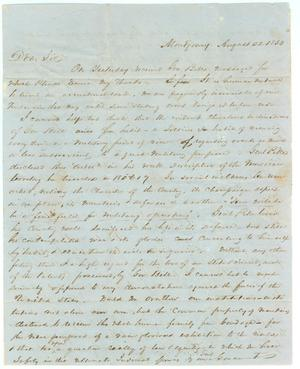 Primary view of object titled '[Letter from C. B. Stewart, signer of the Texas Declaration of Independence, to Jesse Grimes, August 22, 1850]'.
