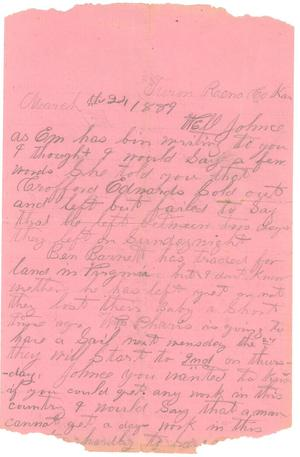 Primary view of object titled '[Letter to Johnson Moorhead from H.T.H. of Turon City, KS ]'.