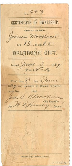 Certificate of Ownership issued to Johnson Moorhead] - The Portal to ...