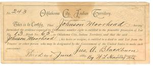 [Certificate of Ownership issued to Johnson Moorhead]