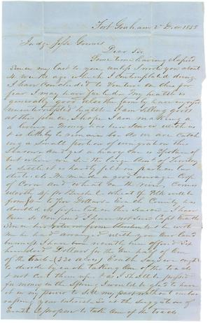 Primary view of object titled '[Letter from Jonathan T. Eubank to Jesse Grimes, December 2, 1858]'.