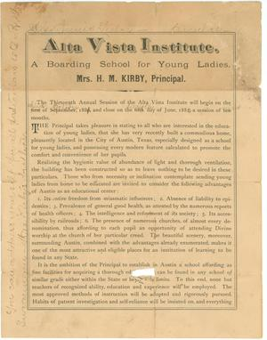 Primary view of object titled 'Alta Vista Institute: A Boarding School for Young Ladies'.