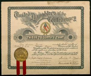 Primary view of object titled 'Certificate of membership'.