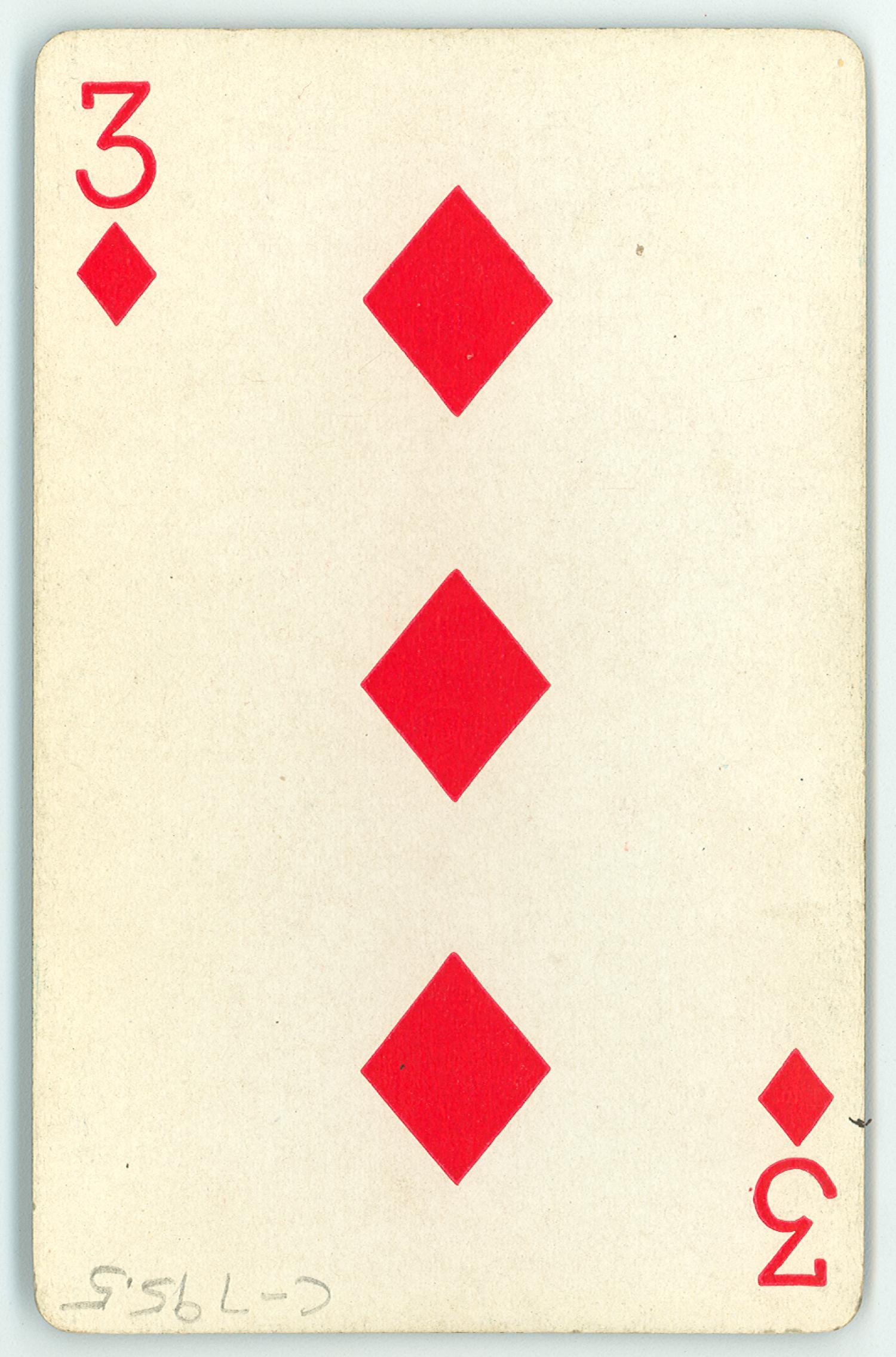 playing card  three of diamonds  - item 2 of 2
