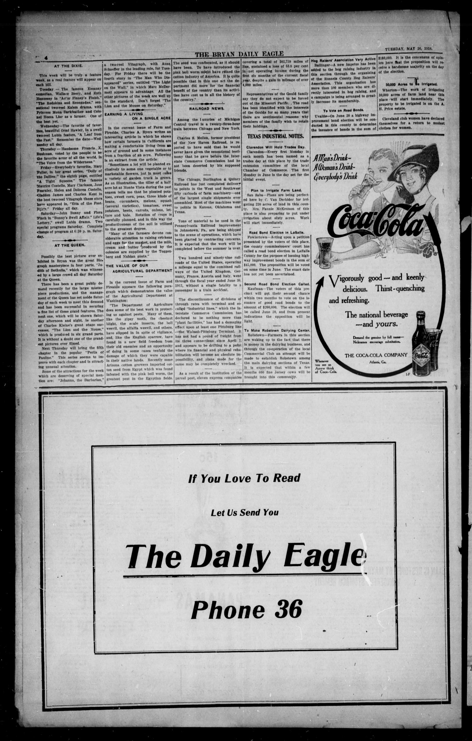 The Bryan Daily Eagle and Pilot (Bryan, Tex.), Vol. 19, No. 156, Ed. 1 Tuesday, May 26, 1914                                                                                                      [Sequence #]: 4 of 6