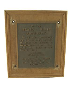Primary view of object titled '[Plaque to the Brazos River Authority]'.