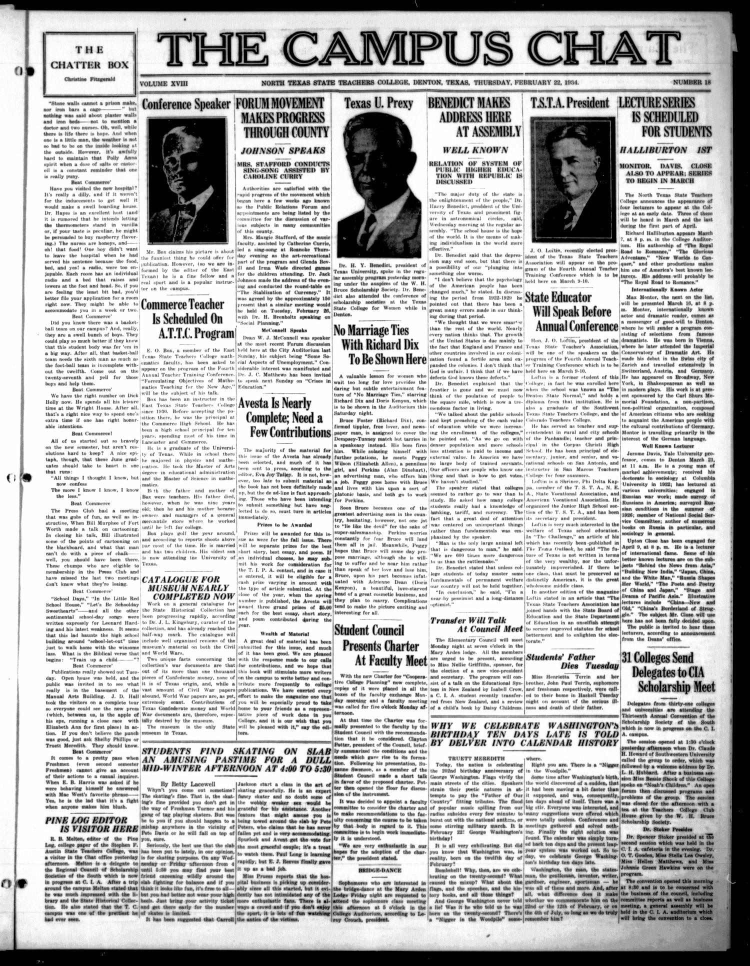 The Campus Chat (Denton, Tex.), Vol. 18, No. 18, Ed. 1 Thursday, February 22, 1934                                                                                                      [Sequence #]: 1 of 4