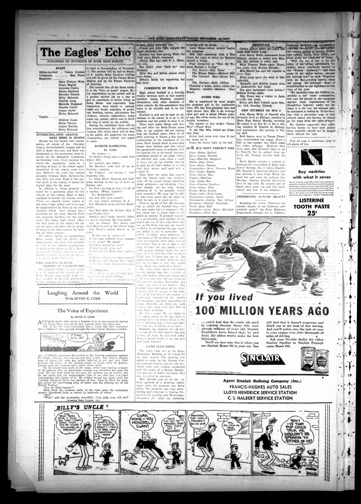 The Rusk Cherokeean (Rusk, Tex.), Vol. 19, No. 17, Ed. 1 Friday, November 19, 1937                                                                                                      [Sequence #]: 4 of 6