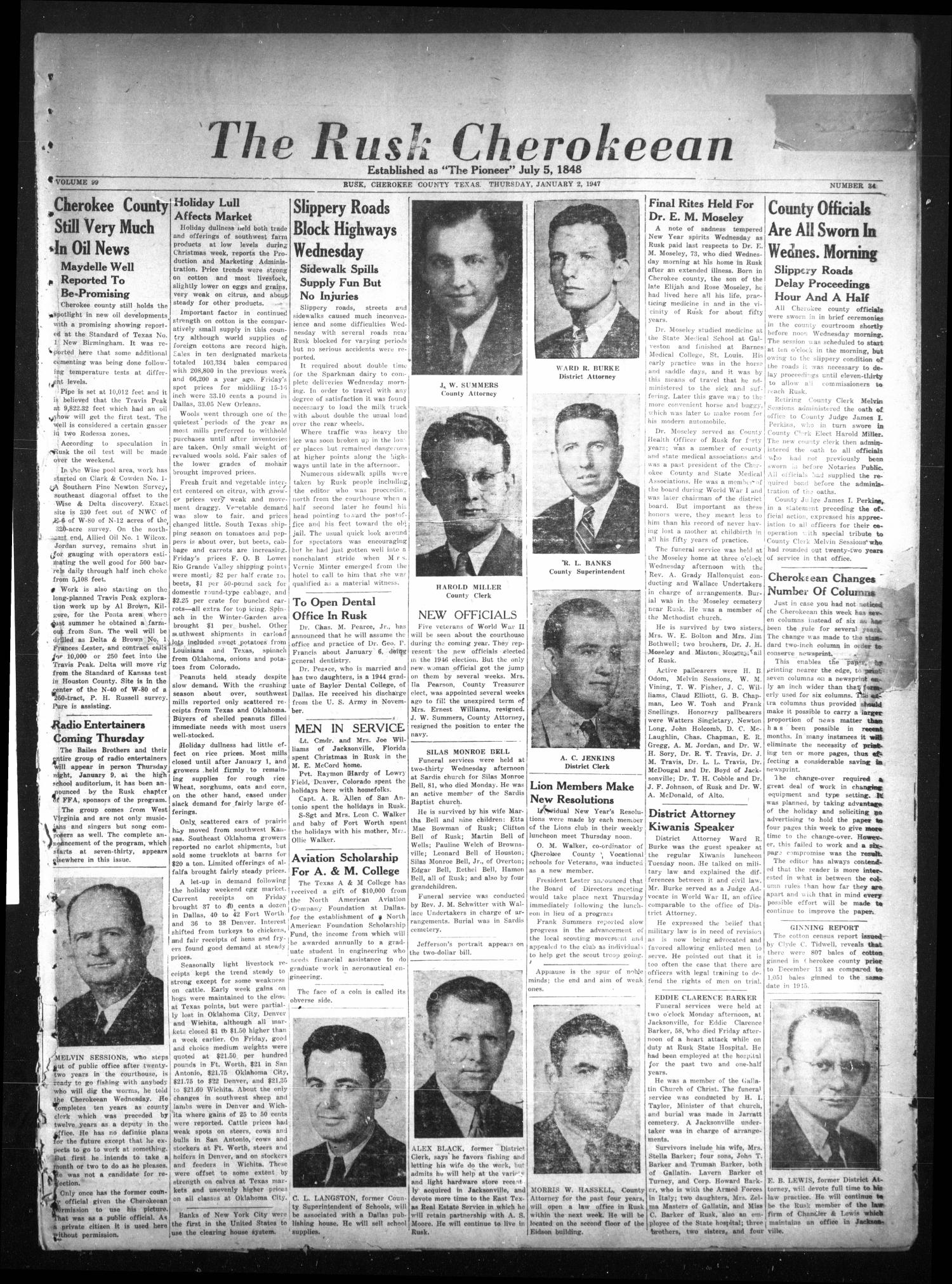 The Rusk Cherokeean (Rusk, Tex.), Vol. 99, No. 34, Ed. 1 Thursday, January 2, 1947                                                                                                      [Sequence #]: 1 of 6