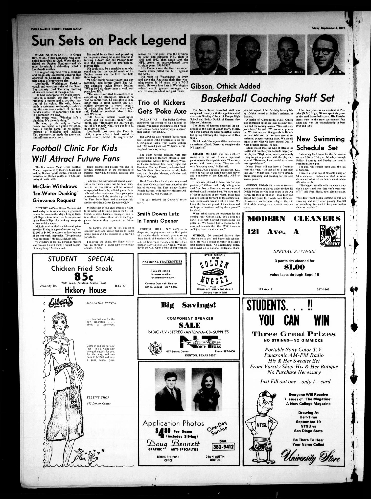The North Texas Daily (Denton, Tex.), Vol. 54, No. 4, Ed. 1 Friday, September 4, 1970                                                                                                      [Sequence #]: 4 of 4