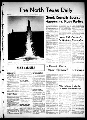 Primary view of object titled 'The North Texas Daily (Denton, Tex.), Vol. 54, No. 5, Ed. 1 Wednesday, September 9, 1970'.