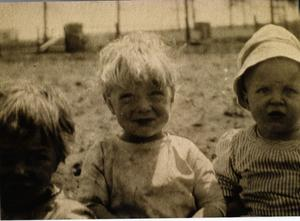 Primary view of object titled 'Earl and John Brown and Charles Schulze as children, c. 1914'.