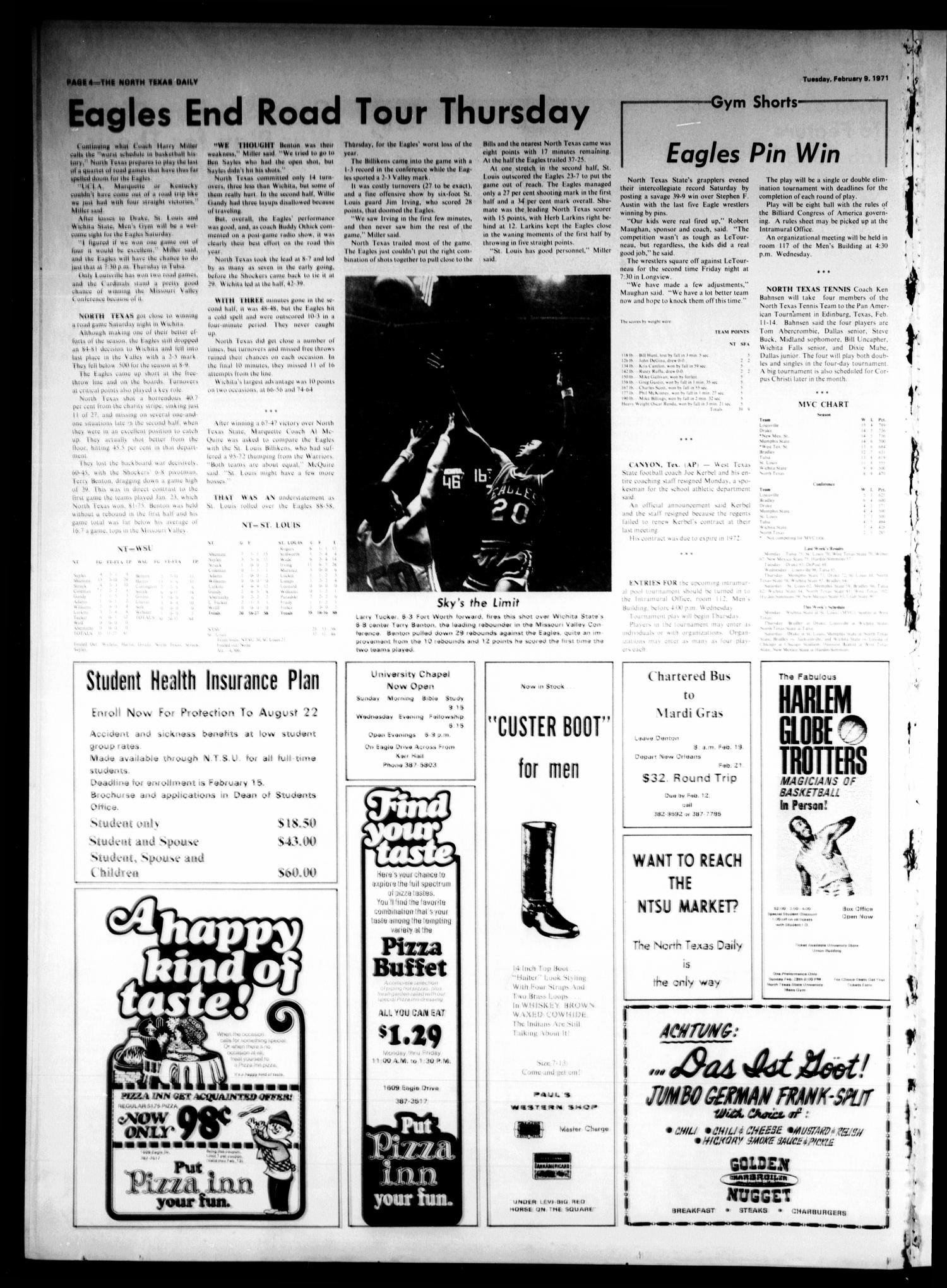 The North Texas Daily (Denton, Tex.), Vol. 54, No. 68, Ed. 1 Tuesday, February 9, 1971                                                                                                      [Sequence #]: 4 of 4